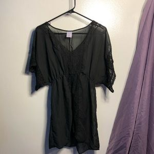 Sheer Black Lace Shirt Swim Cover Up Tunic Top
